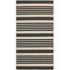Courtyard Black/Bone Indoor/Outdoor Rug