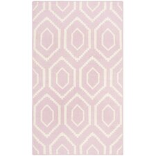 Dhurries Pink & Ivory Area Rug
