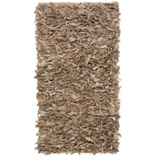 <strong>Safavieh</strong> Leather Shag Dark Beige Rug