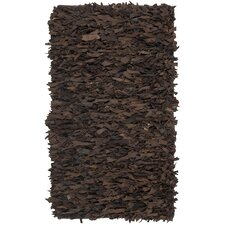 Leather Shag Dark Brown Rug