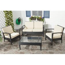 <strong>Safavieh</strong> Piscataway 4 Piece Deep Seating Group with Cushion