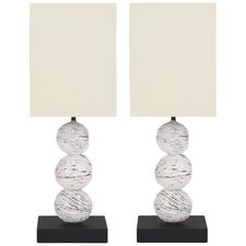 "Samantha 19.7"" H Table Lamp with Square Shade (Set of 2)"