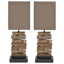 "Woodland 19.7"" H Table Lamp with Square Shade (Set of 2)"
