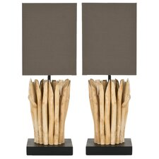 "Aspen Branch Mini 19.7"" H Table Lamp with Square Shade (Set of 2)"