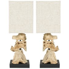 "Oregon 19.7"" H Table Lamp with Square Shade (Set of 2)"