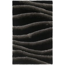 Black / Grey Shag Rug