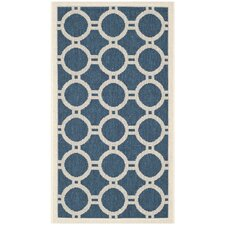 Courtyard Navy / Beige Outdoor Rug