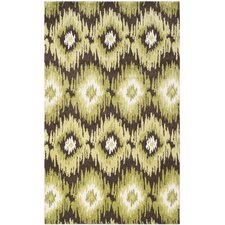 Retro Dark Brown / Green Rug
