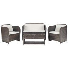 Caprina 4 Piece Deep Seating Group in Brown with Cushions