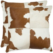 <strong>Safavieh</strong> Carley Cowhide / Suede Backing Decorative Pillow (Set of 2)