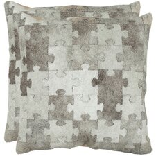 <strong>Safavieh</strong> Mason Cowhide / Suede Backing Decorative Pillow (Set of 2)