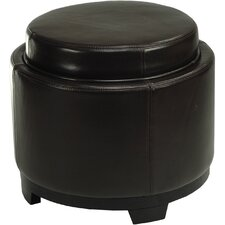Round Cocktail Leather Ottoman