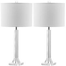"Tyrone Column 27"" H Table Lamp with Drum Shade (Set of 2)"