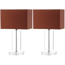 "Art Moderne 15.75"" H Table Lamp with Rectangle Shade (Set of 2)"
