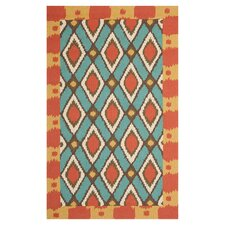 Four Seasons Light Blue / Red Outdoor Rug