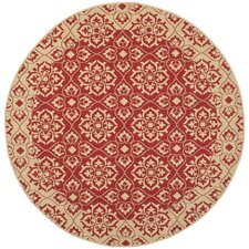 Courtyard Red/Crème Border Outdoor Rug