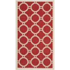 Courtyard Red/Bone Outdoor Rug