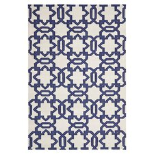 Dhurries Ivory/Purple Area Rug