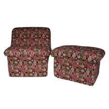 Candyland Plaid Teen Cloud Chair and Ottoman Set