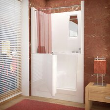 "Telluride 47"" x 27"" Right Drain Soaking Walk-In Bathtub in White with Enclosure"