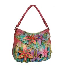 Luscious Lilies Ruched Multi-Pocket Hobo Bag
