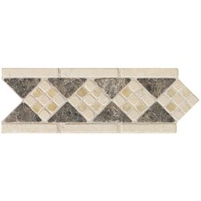 "<strong>Mohawk Flooring</strong> Artistic Accent Statements 10"" x 3-1/2"" Diamond Mosaic Decorative Border in Emperador/Onyx"