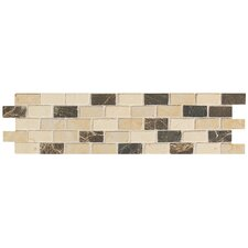 "Artistic Accent Statements 12"" x 3"" Brick-Joint Mosaic Decorative Border in Emperador/Crema Marfil/Gold"