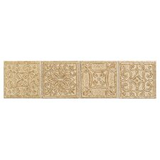 "Natural Bella Rocca 12"" x 3"" Decorative Border in Etruscan Gold"
