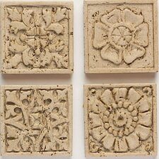 "Artistic Accent Statements 2"" x 2"" Carved Applique Insert in Travertine"