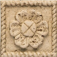 "Artistic Accent Statements 4-1/4"" x 4-1/4"" Flower Insert in Travertine"