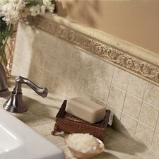 "Accent Statements 12"" x 2.5"" Travertine Leaf Relief Chair Rail Tile Trim"