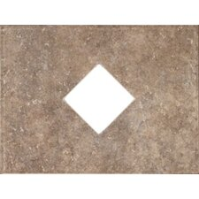 "Natural Bella Rocca 12"" x 9"" Decorative Diamond Cut-Out Tile in Tuscan Brown"