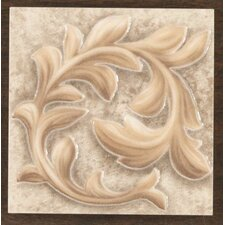 "Natural Primabella 4"" x 4"" Cascading Leaves Decorative Corner Tile in Latte"