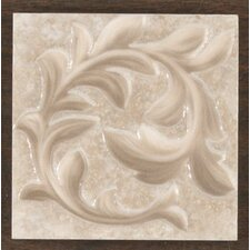 "Natural Primabella 4"" x 4"" Cascading Leaves Decorative Corner Tile in Cappuccino"