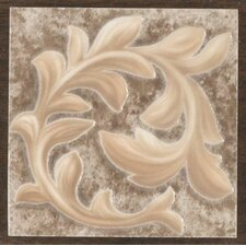 "Natural Primabella 4"" x 4"" Cascading Leaves Decorative Corner Tile in Espresso"