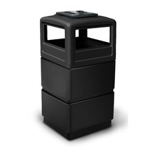 PolyTec 38 Gallon 3-Tier Waste Container with Dome Lid Ashtray