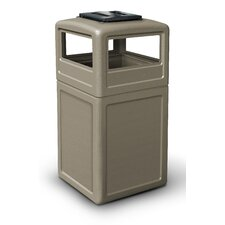 38 Gallon Square Waste Container with Ashtray Dome Lid