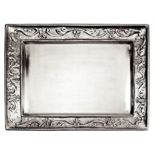 Embossed Pewter Rectangular Serving Tray