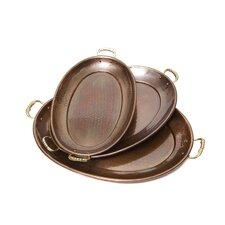3 Piece Décor Antique Copper Oval Tray Set