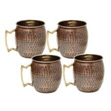 16 Oz. Antique Hammered Solid Copper Moscow Mule Mug (Set of 4)