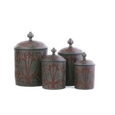Art Nouveau Canister with Fresh Seal Covers (Set of 4)