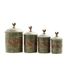 Rooster 4 Piece Fresh Canister Set