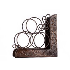 Antique Embossed 3 Bottle Tabletop Wine Rack