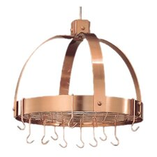 Dome Decor Pot Rack with Grid and Hooks