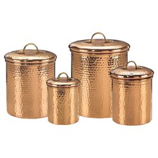Hammered 4 Piece Canister Set in Copper