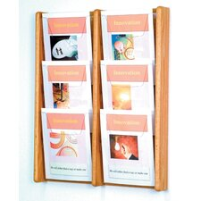 Six Pocket Acrylic and Oak Wall Display