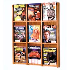 <strong>Wooden Mallet</strong> Nine Magazine Oak and Acrylic Wall Display with Optional Floor Stand