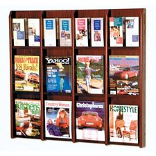 <strong>Wooden Mallet</strong> Twelve Magazine and 24 Brochure Oak and Acrylic Wall Display with Optional Floor Stand