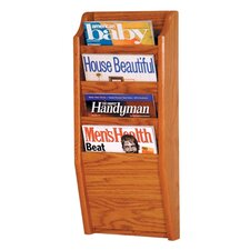 <strong>Wooden Mallet</strong> Four Pocket Wall Mount Magazine Rack