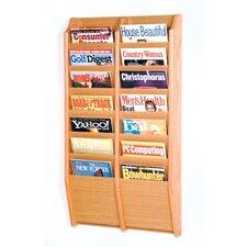 14 Pocket Wall Mount Magazine Rack